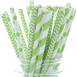 St. Patrick's Day Straws, Green Drinking Straws, Saint Pattys Day Leprechaun Party Supplies Straws (25 Pack) - March Irish Clover Green Straws