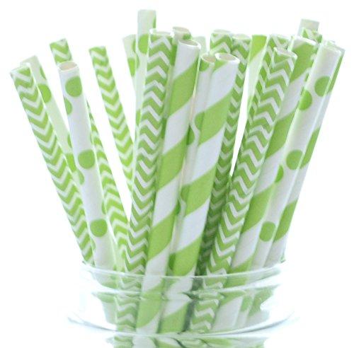 St. Patrick's Day Straws, Green Drinking Straws, Saint Pattys Day Leprechaun Party Supplies Straws (25 Pack) - March Irish Clover Green Straws]()