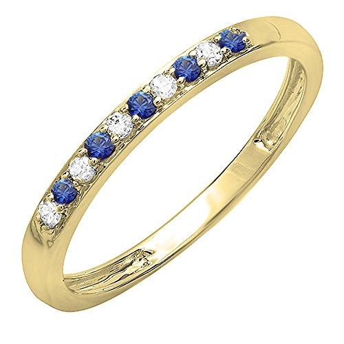 Dazzlingrock Collection 10K Round Blue Sapphire & White Diamond Ladies Wedding Band Ring, Yellow Gold, Size 7 ()