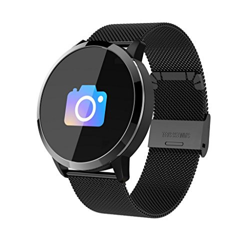 Smart Brsmart Bracelet Heart Rate Blood Lipid Detector Sports Running Pedometer Fitness Tracker Smart Reminder Bluetooth Smart Steel Belt Watch,Black by LJXAN