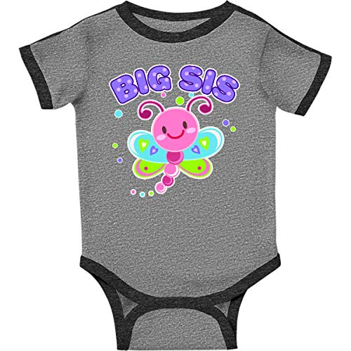 (inktastic Big Sis Dragonfly Infant Creeper 18 Months Ringer Heather and Smoke)