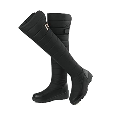 e2b4c5c58726 Women Snow Boots Over The Knee Platform Wedge Winter Tall Booties  Waterproof Outdoor Warm Down Boots