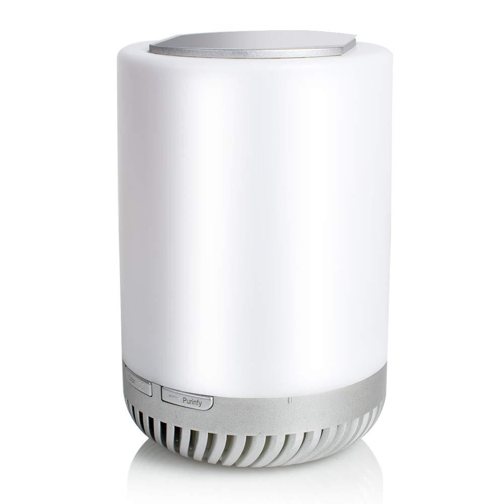 Carejoy Air Purifier with True Hepa Filter, Home Air Cleaner for Allergies and Pets, Smoke, Dust, Mold, Smokers, Portable Aromatherapy Cleaner Remote Night Light with Flowerpot