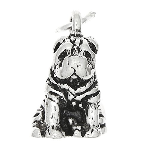 Sterling Silver Oxidized Three Dimensional Shar Pei Dog Charm - Shar Pei Dog Charm