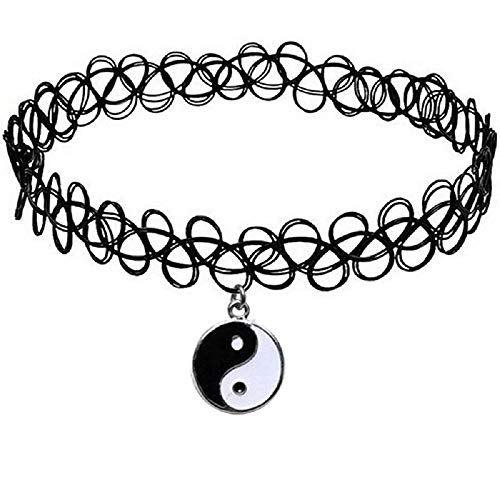 Sinlifu Black Vintage Stretch Tattoo Pendant Choker Necklace Henna Elastic Retro Collar 90s (Ying -