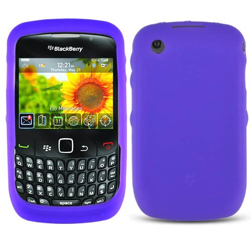 (Solid Purple Silicone Skin Gel Cover Case For BlackBerry Curve)