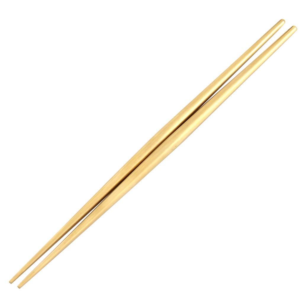 JDgoods Korean Stainless Steel Non-slip Pointed Chopsticks Reusable, Dishwasher Safe (Gold)