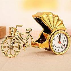 Ayzr Retro Alarm Clock, Creative Antique Tricycle, Retro Bedroom, Living Room Clock,Yellow