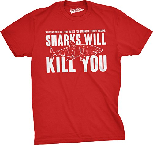 Mens Sharks Will Kill You Funny T Shirt Sarcasm Novelty Offensive Tee for Guys (Red) - - T-shirts Offensive Adult