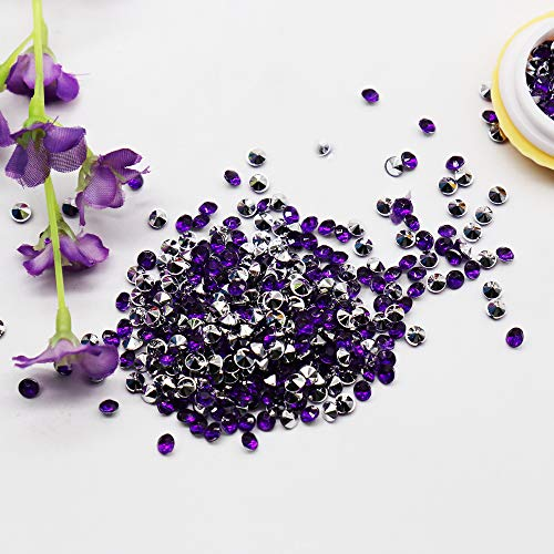 BIT.FLY 4.2mm 10000pcs Acrylic Crystal Diamond Vase Fillers for Table Scatter Wedding Event Party Decoration, Arts & Crafts DIY Ice Rock Treasure Gems - Purple & Silver (Turquoise Wedding Centerpieces And Silver)