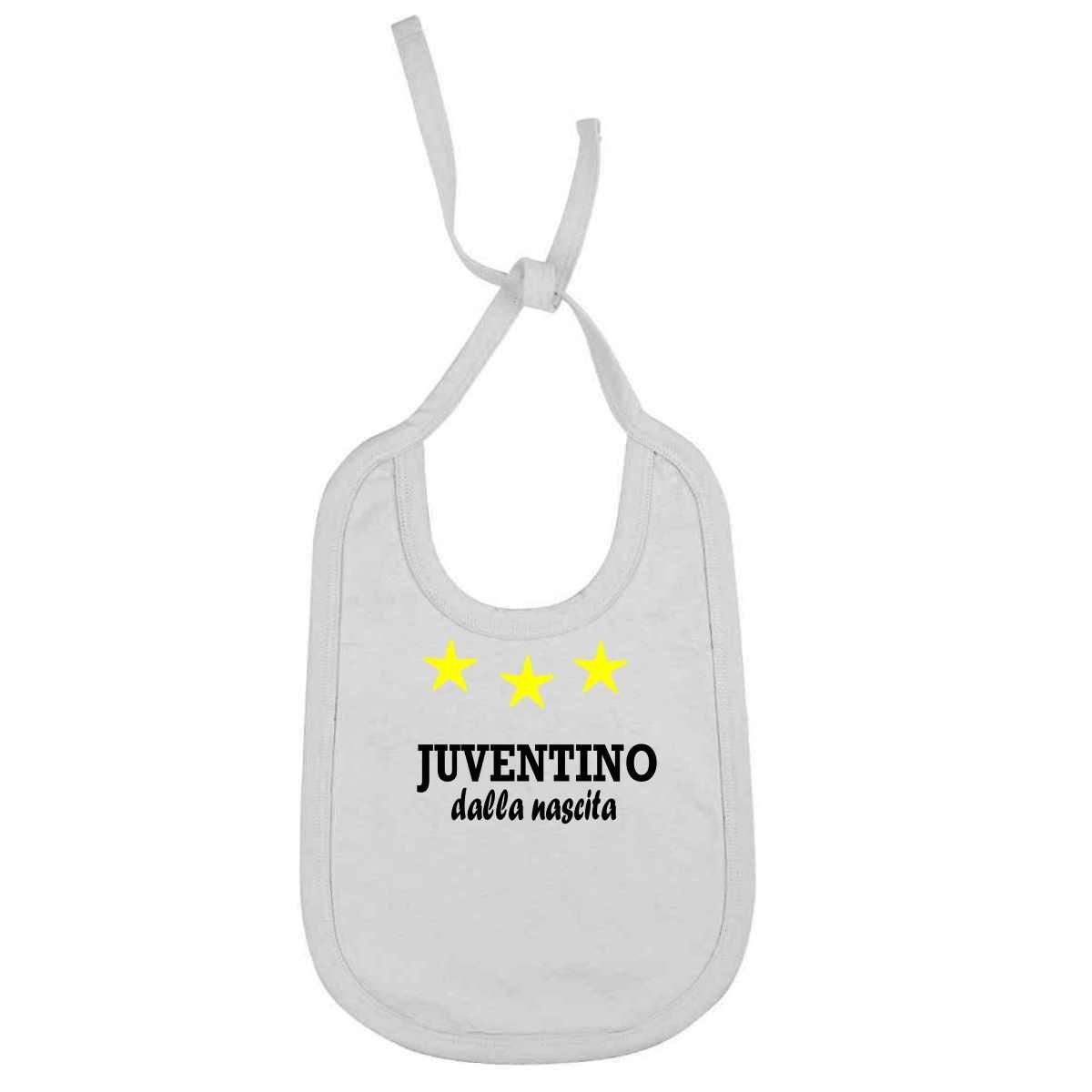 Bavaglino Personalizzato Juventino dalla nascita per piccoli tifosi della juventus juv-BIA01 magicostore