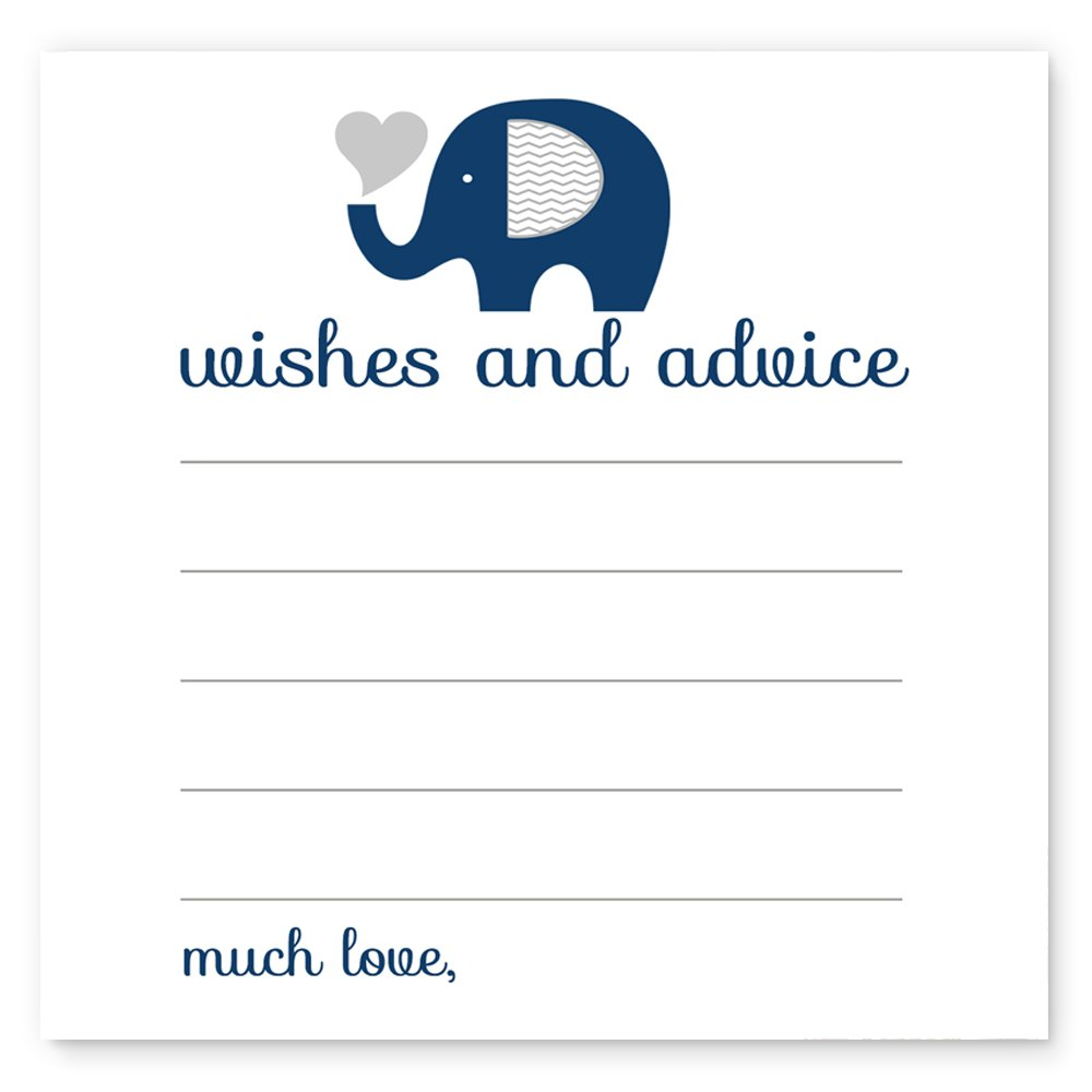 Paper Clever Party Navy Elephant Advice for Boys Set of 25 Cards Baby Shower Games