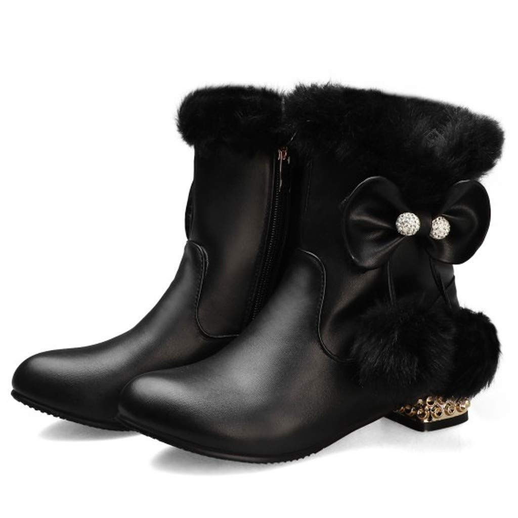Vibola Cute Bowknot Short Boots Low Heel Stylish Fur Ball Pendant Solid Color Round Toe Large Size Ankle Bootie by Vibola
