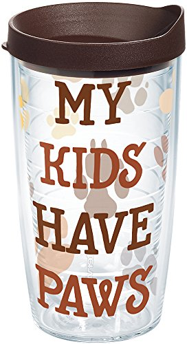 (Tervis 1247868 My Kids Have Paws Tumbler with Wrap and Brown Lid 16oz, Clear)