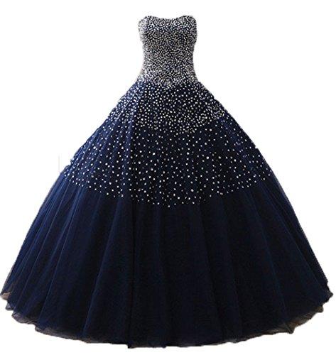Sweet 16 Dresses Gowns (BessDress Strapless Sequin Ball Gown Tulle Sweet 16 Dresses For Girls BD084)