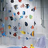 Clear Shower Curtain with Fish Onner Shower Curtain, 180200cm Sea World Fish Transparent Waterproof Midew Resistant Washable Bath Shower Curtain (180200cm)
