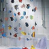 Clear Fish Shower Curtain Onner Shower Curtain, 180200cm Sea World Fish Transparent Waterproof Midew Resistant Washable Bath Shower Curtain (180200cm)