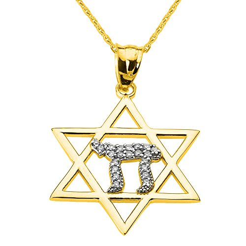 Solid 14k Yellow Gold Beautiful Star of David with Chai Diamond Necklace, 20