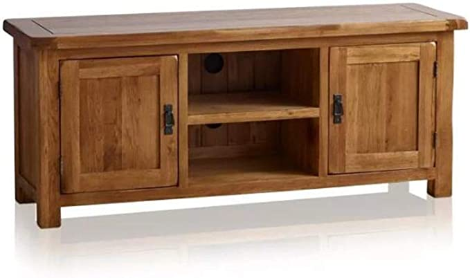 OAK Furniture Mueble de TV Grande y Ancho de Roble Macizo para ...