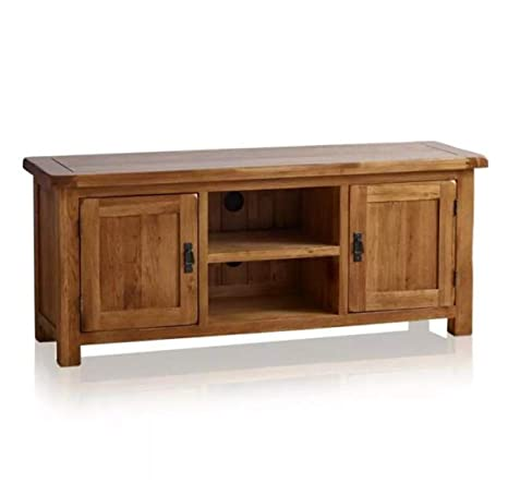 OAK Furniture Mueble de TV Grande y Ancho de Roble Macizo ...