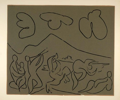 1962 Linocut Bacchanal Mother Child Nudes Dance Picasso - Limited Edition 472/520