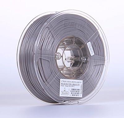 eSUN 3D 1.75mm Solid Silver PETG 3D Printer Filament 1KG Spool (2.2lbs), 1.75mm Solid Opaque Silver