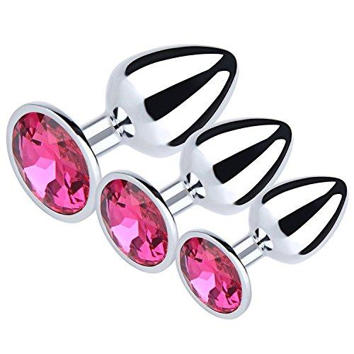 JILAN 3PCS Diamond Jeweled Beginner Butt Plug Adult Sex Anal toy Anal Plug (rose red)