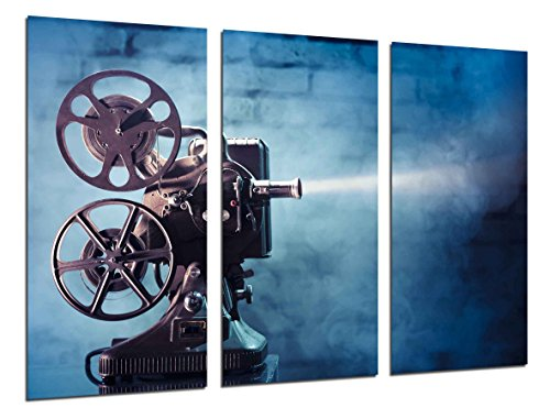 Cuadros Camara Multi Wood Printings Art Print Box Framed Picture Wall Hanging - (Total Size: 38 x 24.4 in), History Cinema Hollywood, Projector - Framed and Ready to Hang - ref. 26377 (Hollywood Projector)