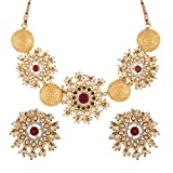 Swasti Jewels Bollywood Set with Kundan and Pearls Fashion Jewelry Necklace Earrings for Women