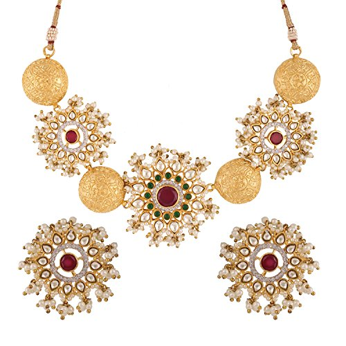 Swasti Jewels Bollywood Set with Kundan and Pearls Fashion Jewelry Necklace Earrings for Women by Swasti Jewels