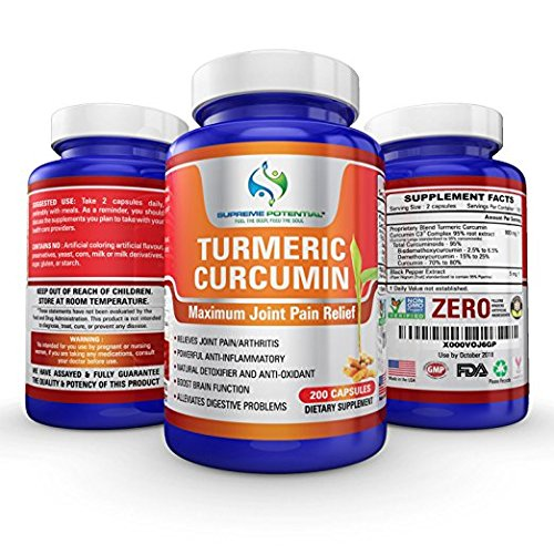 Supreme Potential Turmeric Curcumin with Black Pepper for Joint Pain - 200 Capsule