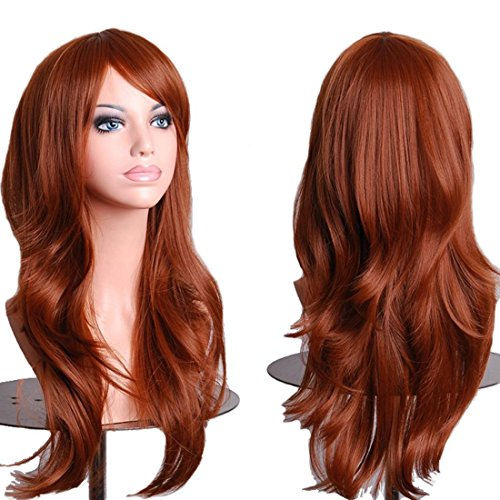Topbuti Women's Hair Wig Long Big Wavy Hair Heat Resistant Wig (Brown)]()