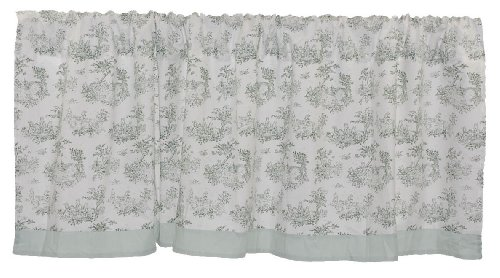 Tadpoles Toile Window Valance, - Green Toile Sage