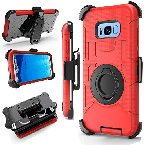 - J.west Galaxy S8 Plus Case, Armor Holster Defender Full-Body Rugged Protective Hybrid Case Cover with Built-in Kickstand Belt Clip for Samsung Galaxy S8+ Plus 2017 Release(6.2 inch) Red