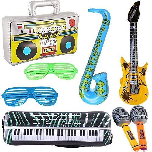 Blow Up Props - 8PCS Inflatables Guitar Saxophone Microphone Boombox