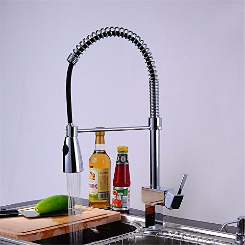 Commercial Single Lever Single Handle Pull Down Kitchen Sink Faucet Brass Constructed Polished,Kitchen faucet Spring hot and cold Sprayer sink with rotating chrome