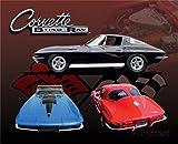 "Crystal Art Times 12""x15"" Corvette Sting Ray Car Metal Sign, 12"" x 15"""