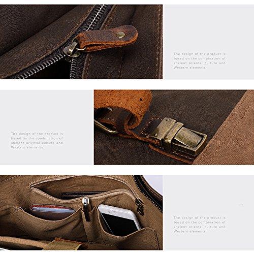 YXLONG 6 Pulgadas Bolso Leather Bolsa Hombro Bolso 15 Hombres Aceite Lona De De De De Horse Hombres Bolso Crazy De Retro Los Cera De Male Maletín Mensajero La darkgray La del Los Coralblue r80Wr