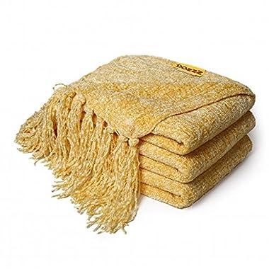 DOZZZ Decorative Throw Sofa / Couch Chenille Throw Blanket 60 X 50 Inches, Yellow