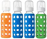 Lifefactory Bpa-free Glass Baby Bottle - 4 Pack (9 oz.), Green/Blue/Orange