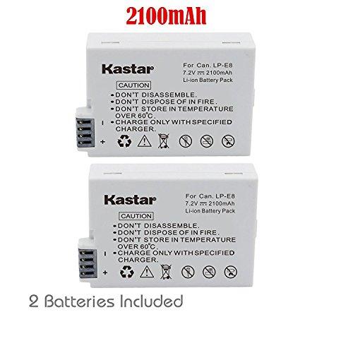 Kastar LP-E8 Equivalent Battery for Canon EOS Rebel 550D, Rebel T2i (2-Pack )