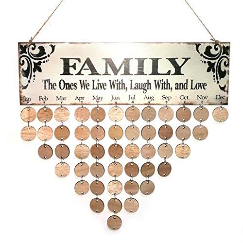 VORCOOL Family Birthday Hanging Plaque Board DIY Wooden Calendar Birthday Reminder Home Decor (1 Plaque/ 1 Rope/ 50 Round Discs)