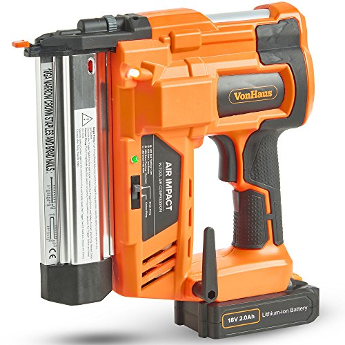 VonHaus Cordless Electric 2 in 1 Nail & Staple Gun with in Built Air...