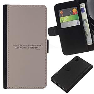 """A-type (Cartel de motivación"""") Colorida Impresión Funda Cuero Monedero Caja Bolsa Cubierta Caja Piel Card Slots Para Sony Xperia Z1 L39"""