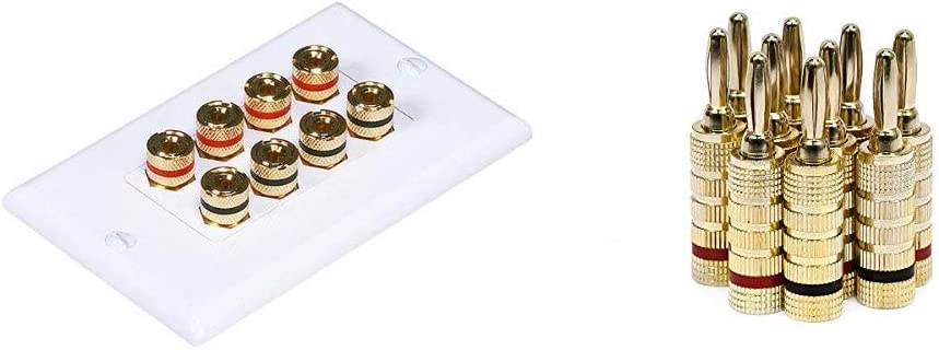 Monoprice 103326 Banana Binding Post Two-Piece Inset Coupler Wall Plate for 4 Speakers & Gold Plated Speaker Banana Plugs – 5 Pairs – Closed Screw Type, for Speaker Wire, Wall Plates and More