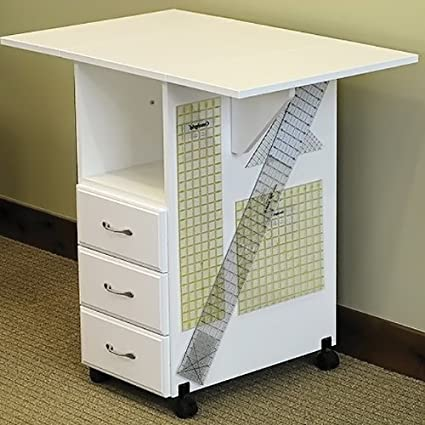 Sewingrite Cutting Craft Desk Utility Table With 3 Storage Drawers Drop Leaf White Amazon Co Uk Kitchen Home