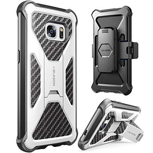 Galaxy S7 Case, i-Blason Prime [Kickstand] Samsung Galaxy S7 2016 Release [Heavy Duty] [Dual Layer] Combo Holster Cover case with [Locking Belt Swivel Clip] (White)