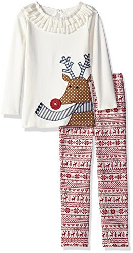 Mud Pie Toddler Girl Holiday Two Piece Playwear Set, Fair Isle Pants, 5T - Luna Family Set