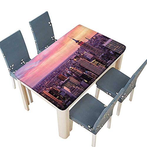 PINAFORE Table in Washable Polyeste New York City Midtown with Empire State Building at Amazing Sun Banquet Wedding Party Restaurant Tablecloth W61 x L100 INCH (Elastic -