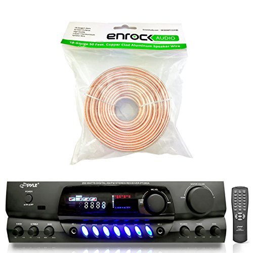 Pyle PT260A 200-Watt 2-Channel Digital AM/FM Radio Stereo Amplifier Receiver - Bundle Combo With Enrock 50 Feet 18-Gauge Speaker Wire